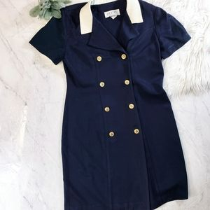 Vintage Navy Blue Nautical Career Coat Dress